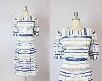 vintage CHRISTIAN DIOR dress / graphic print cotton dress / 1980s designer dress / striped cotton dress / striped summer dress