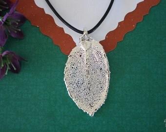 SALE Leaf Necklace, Silver Rose Leaf, Real Rose Leaf Necklace, Real Leaf Pendant, SALE230