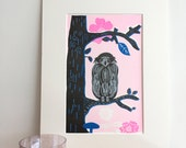 Art Deco Owl - A4 Colorful Illustration Art Print - Owl Poster - Matted