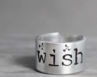 Wish Ring, Inspiration Ring, Dandelion Ring, Inspiration Jewelry, Hand Stamped Ring, Handstamped Ring, Wish Jewelry, Hand Stamped Gift