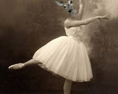 Grace - Vintage Deer Print - Ballerina - Altered Photo - Anthropomorphic - Photo Collage - Sepia - Gift Idea - Whimsical - Animal Print