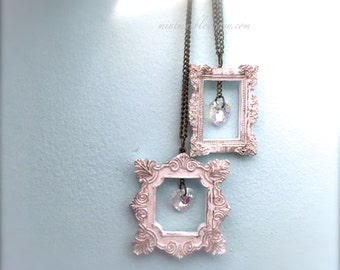 White Frame Necklace. Decorated Rustic Miniature Frame. Frame Necklace. Iridescent Aurora Borealis Glass Heart. Vintage Style.