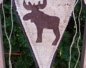 Upcycled Woodland Animal Burlap Banner (with brown felt backing) - Eco-Friendly Home Decor Moose, Bear, Fox, Hedgehog, Squirrel