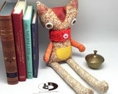 Orange cat plush handmade in cotton fabric with crocheted red scarf, stuffed cat cloth doll, nursery toy decor, baby shower gift idea