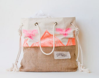 Neon Pink Orange Beach Bag Tribal Print Tote Canvas Jute - The Sandbag - Surf Tribe Boho Aztec