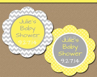 Baby Shower Favor Tags - DIY Printable Thank You Tags Yellow Gray Chevron - Gender Neutral - INSTANT DOWNLOAD Birthday Party, Bridal Shower