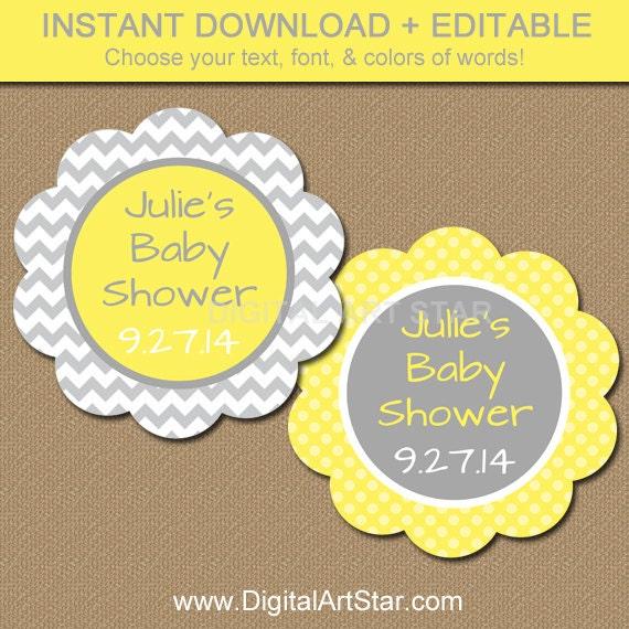 Baby shower favor tags diy printable thank you tags yellow - Baby shower favor tags ...