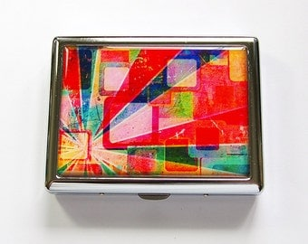 Metal cigarette case, Cigarette box, Metal Wallet, abstract design, Cigarette Case, Bright Colors, Made in Canada, stainless steel (4891)