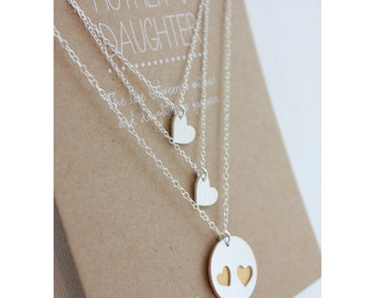 Mother Daughter Necklace Set - mother 2 daughters - silver/gold - mother daughter jewelry - mother gift - mom necklace - mother's day gift