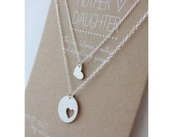 Mother Daughter Necklace Set - mom jewelry gift - mother necklace - mother daughter jewelry - mom necklace -necklace gift - christmas gift