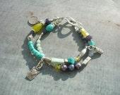 Artisan, Handmade, Double Strand, Turquoise, Charm Bracelet