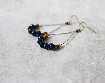 SALE 30% OFF - Infinity Hoop Earrings, Simple Gemstone Earrings, Indigo Blue Earrings,