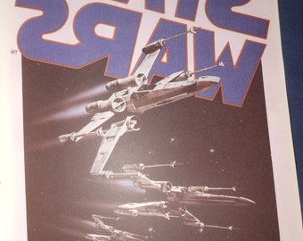 1977 vintage Star Wars Iron On Transfer - make your own t shirt - millenium falcon - tie fighter
