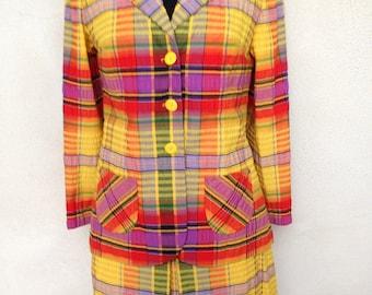 Vintage Mod preppy plaid seersucker suit skirt yellows blue red green sz S