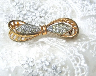 1930's Art Nouveau Jewelry Brooch Ribbon Bow Brooch Pin Gold Toned // Pave' Crystals Vintage Jewelry Womens Accessories