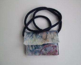 Small Crossbody Bag Felt Handmade Purse, iphone 6, 5 case, cell phone cover, mobile protective sleeve, eco friendly gift, wearable fiber art