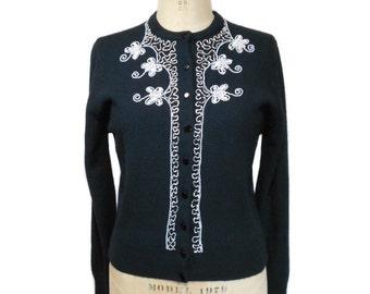 vintage 1960s butterfly cardigan / Fox Wood / orlon acrylic / beaded embellished sweater / women's vintage sweater / size medium