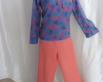 Vintage womens 70s blouse, purple teal orange pink lavender print, ruffle collar bow tie - matching pants available