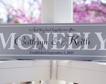 And they lived happily ever after, Personalized Wedding Sign, Engagement Gift, Bridal Shower Gift 9.25 x 32