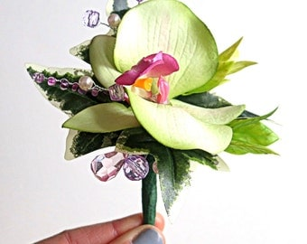 Faux Boutonniere - Wedding Boutonniere - Anniversary Boutonniere - Prom - Lime Green Orchid Boutonniere Lime Green and Pink Boutonniere