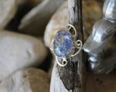 Reiki Attuned Blue Crackle Quartz Silver Ring Size 8