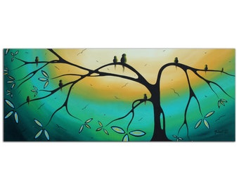 Turquoise Modern Art 'Family Perch' Abstract Birds in Tree Painting Metal Giclee, Contemporary Sunset Landscape, by Megan Duncanson