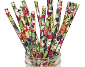 Watercolor Floral Pattern Paper Straws, Summer Fun, Fiesta