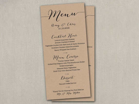 Items similar to wedding day reception table menu menus for Table 9 menu