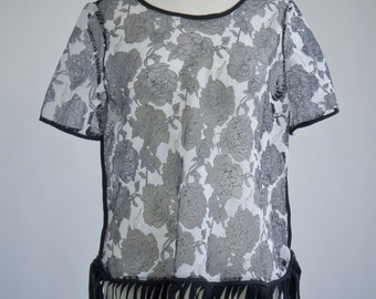 Womens clothing repurposed vintage sheer and black rose stitch see-through top shirt tunic fringe bottom M