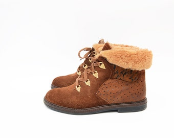 Vintage brown suede faux fur women ankle flat boots