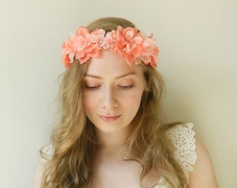 Coral Delphinium Flower Crown - Peach Rustic Wedding Bridal - READY TO SHIP