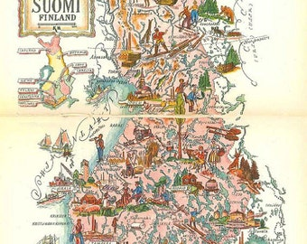 Finland Map Art / Old Map Book Illustration / Vintage Map Print / Jacques Liozu Map of Suomi / Finnish Map Decor / World Travel Decor