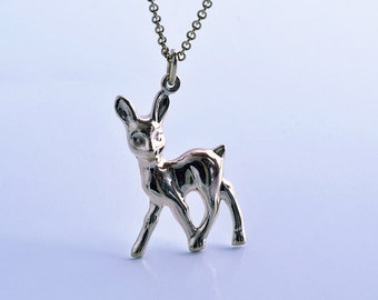 Fawn Deer Silver Pendant Necklace | Bambi Pendant, sterling silver, fawn charm pendant, unique cool sweet gift woman, girl, handmade charm