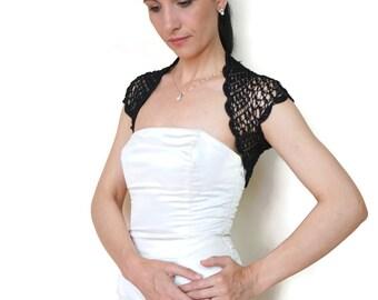 Summer Dress Cover Up, Black Shrug, Black Bolero Jacket, Crochet Shrug, Bridesmaid Bolero, Lace Wedding Shrug, Crochet Bolero