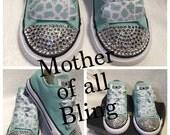 Swarovski Crystal Converse Infant/Toddler Shoes - cheetah