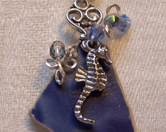 SOLD - Necklace_SeaPottery shard from Scotland! Beach-found like SeaGlass;  Sea worn pottery. Silver sea horse charm, wire wrap, beadwork