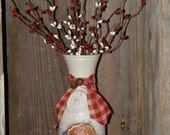 Handpainted Vintage Bottle-Gingerbread Man & Pip Berries-Christmas Decor