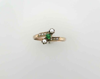 Chrome Tourmaline and Seed Pearl Victorian Ring in Yellow Gold, Green Tourmaline and Pearls, Ring for Your Right Hand