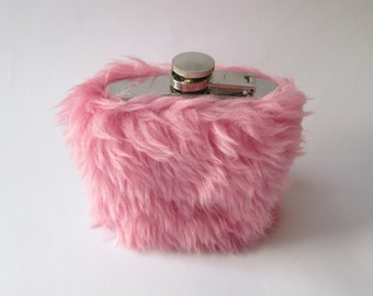 21st Birthday Gift for Her, Fuzzy Flask for Women, Cute Flask, Pink Flask, Pastel Goth, Girly Kawaii Stainless Steel INCLUDING FLASK