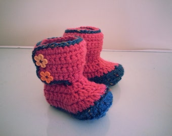 Pink baby girl booties, handmade crochet shoes, boots, slippers