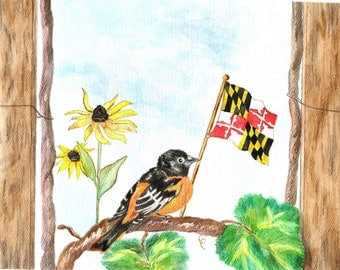 Maryland Art, Baltimore Oriole Print, Maryland State Flag Watercolor, Black-Eyed Susan Painting, MD State Bird and Flower Picture
