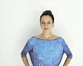 dress, printed shirt dress, galaxy, oversized, 3/4 sleeve, cyan blue, milky way