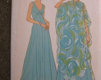 Vintage 1970s Simplicity Evening Maxi Dress Chiffon Poncho Pattern Sz 10 Uncut