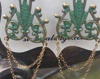 Green Goddess Earrings, Art Nouveau Chandelier Earrings, Gold and Green Earrings