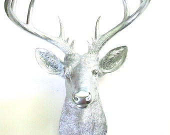 Unique silver deer head related items etsy - Silver stag head wall mount ...