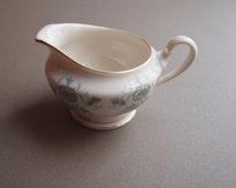Castleton China Caprice creamer  milk jar cream jar made in USA gray aqua floral gold trim  looks unused / like new