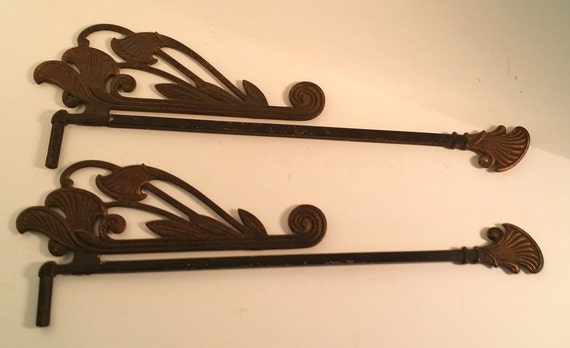 vintage art nouveau swing arm curtain drapery rods wrought iron