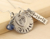 New Mom Necklace - Antiqued and Rustic Mothers Necklace - Personalized for Mom - Push Present - New Baby Jewelry - Name and Date Tag