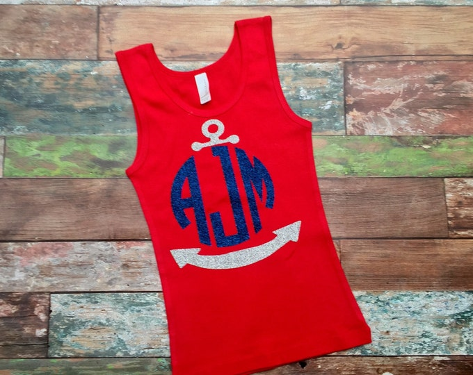 Anchor Monogram Tank top, Monogrammed Tank Top, Women's Tank Top, Girl's Tank Top, Bridesmaid gifts, Monogrammed Gifts
