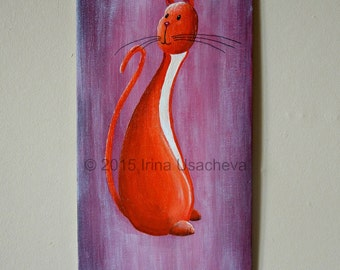 """Original Cat Painting for Sale """"Affable Cat"""", acrylic"""